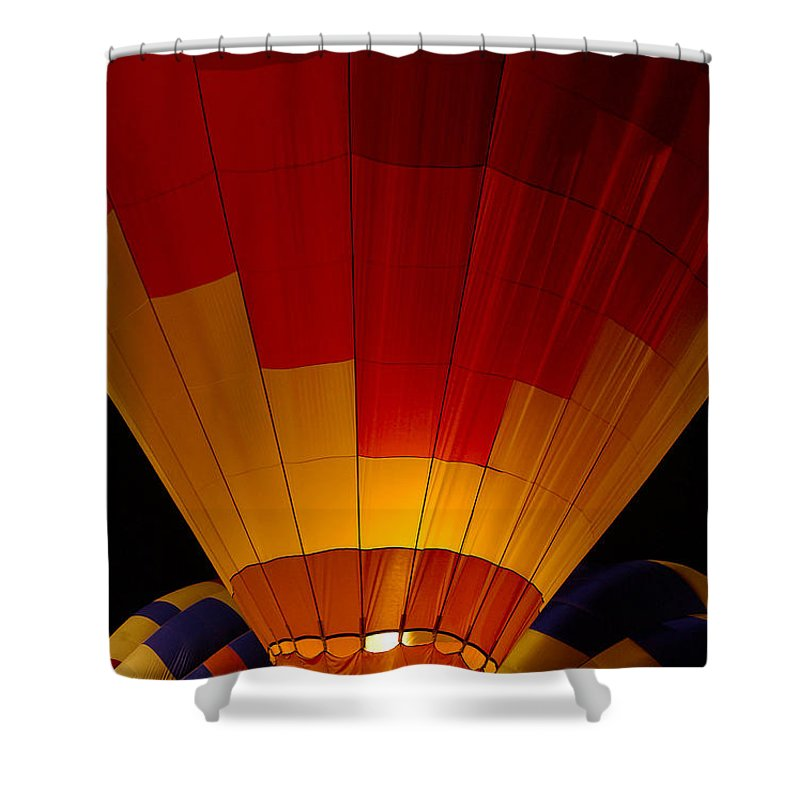 Balloon Shower Curtain featuring the photograph Night Flight by Mike Dawson