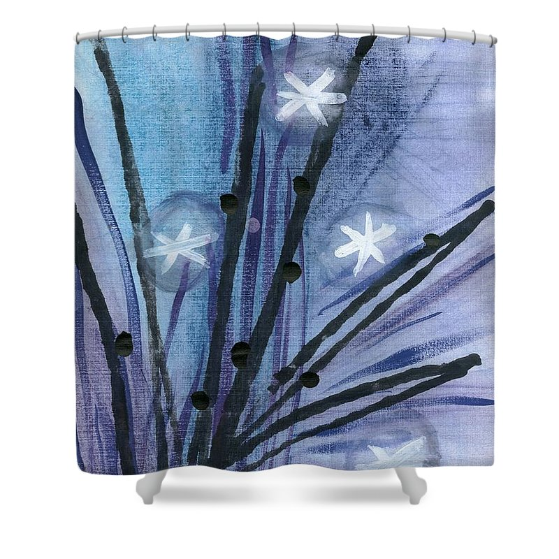 Night Flowers Shower Curtain featuring the drawing Night Flowers by David Jacobi