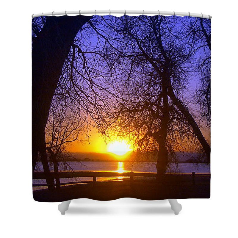Barr Lake Shower Curtain featuring the photograph Night In Barr Lake Colorado by Merja Waters