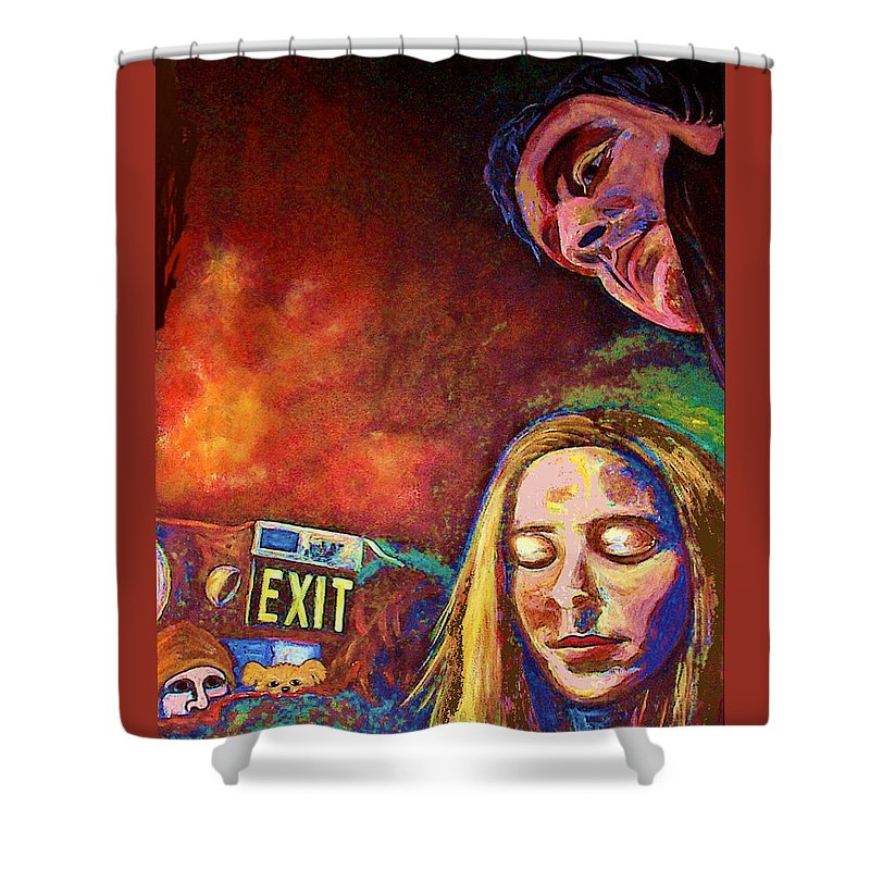 Girl Portrait Shower Curtain featuring the painting Night In The City by Frances Gillotti
