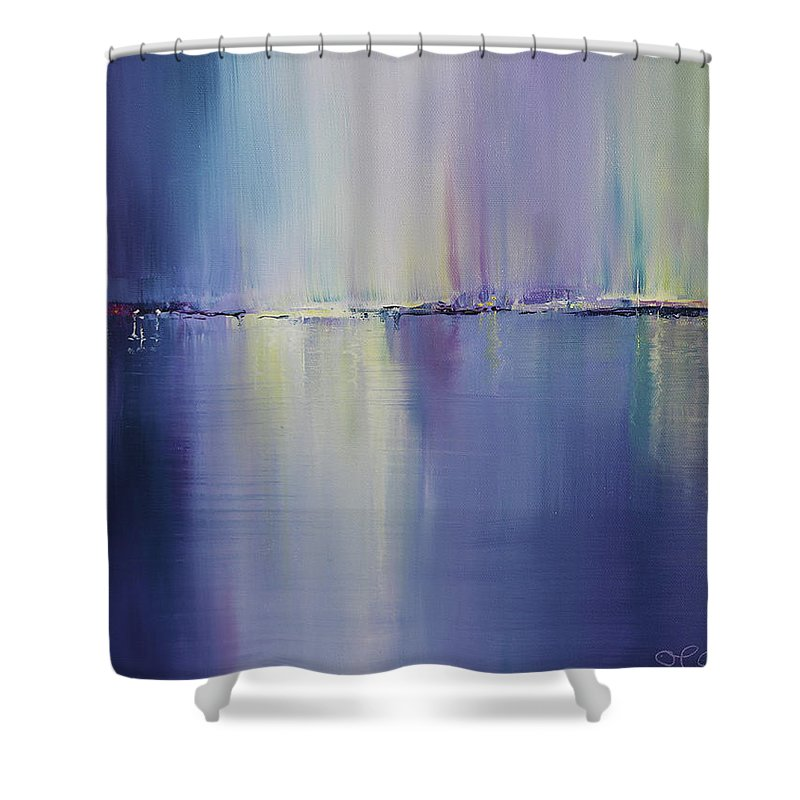 Kinsale Shower Curtain featuring the painting Night Lights Kinsale by Maeve Cotter