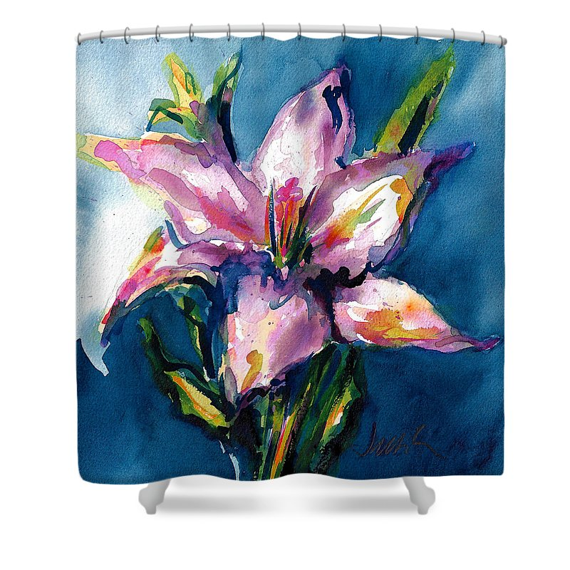 Pink Lily Shower Curtain featuring the painting Night Lily by Jacki Kellum