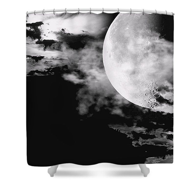 Moon Digital Artwork Shower Curtain featuring the photograph Night by Lourry Legarde