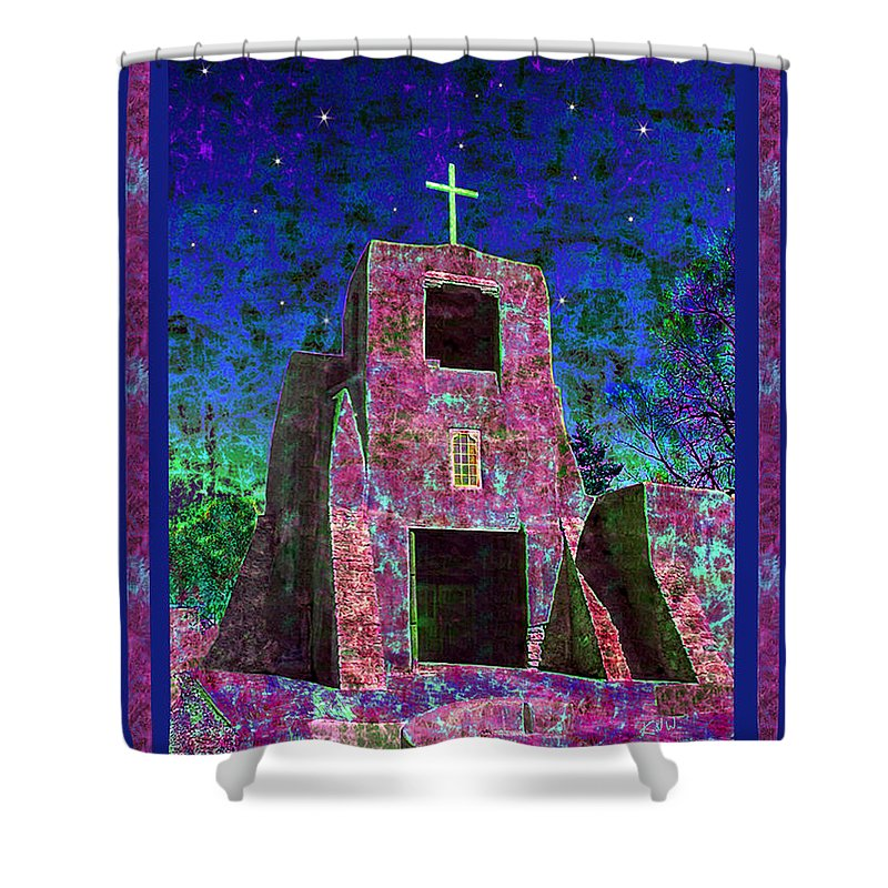 Mission Shower Curtain featuring the photograph Night Magic San Miguel Mission by Kurt Van Wagner