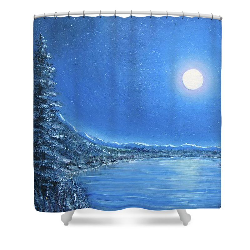 Night Shower Curtain featuring the painting Night Moon by Lisa Cini