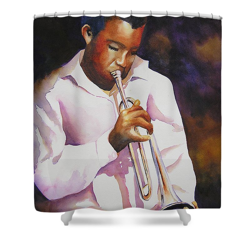 Trumpet Shower Curtain featuring the painting Night Music by Karen Stark