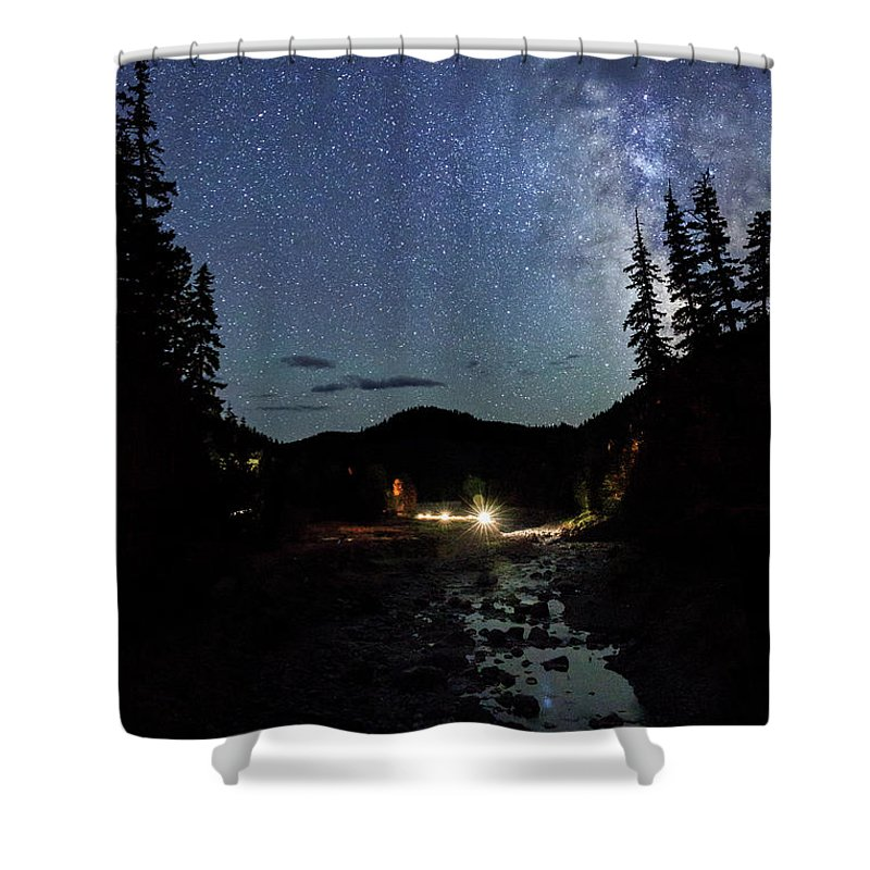 Night Shower Curtain featuring the photograph Night On The Blue River by Cat Connor