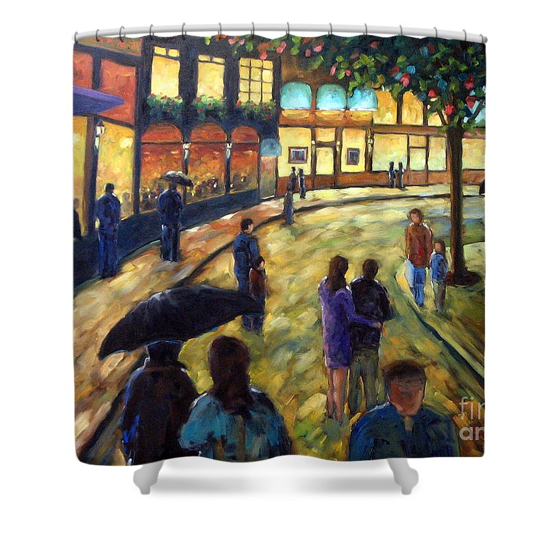 Cityscape Shower Curtain featuring the painting Night On The Town by Richard T Pranke
