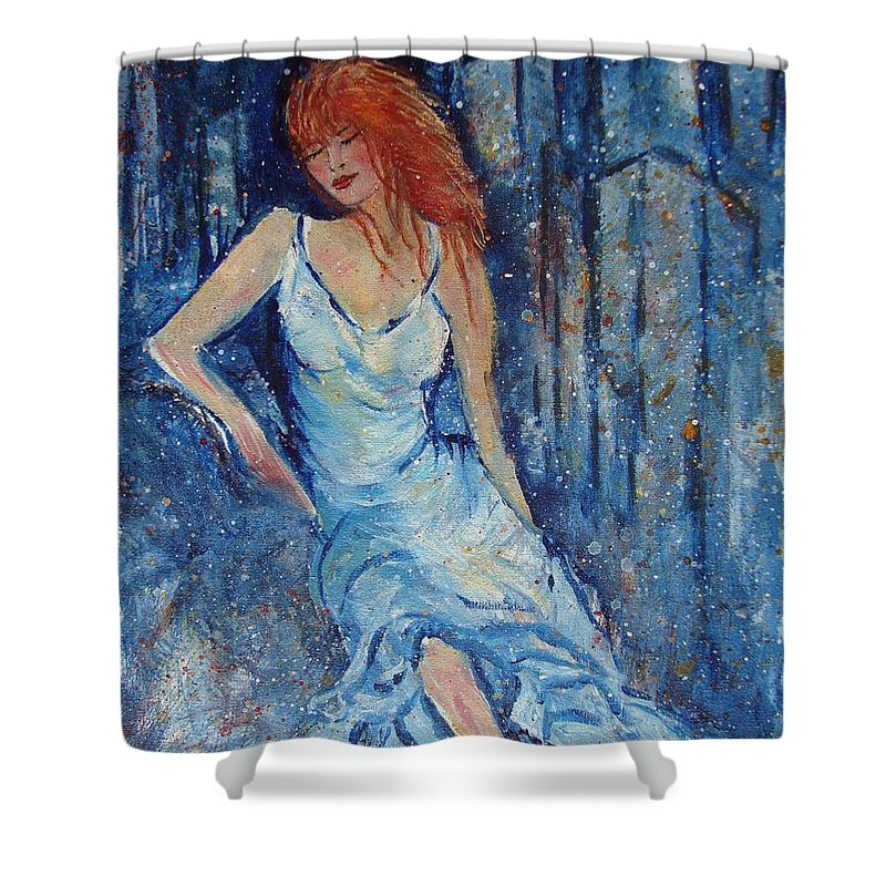 Figure Shower Curtain featuring the painting Night On The Town by Robin Monroe