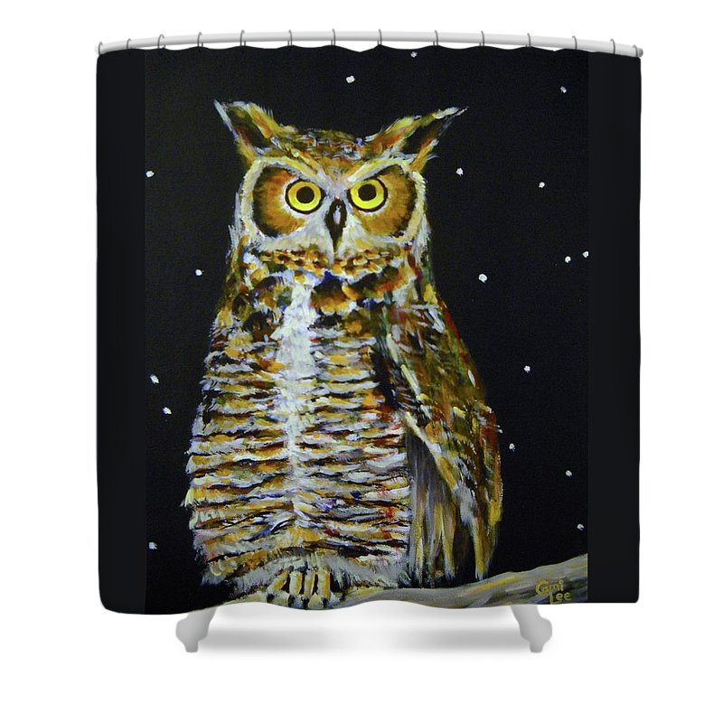 Owl Shower Curtain featuring the painting Night Owl by Cami Lee