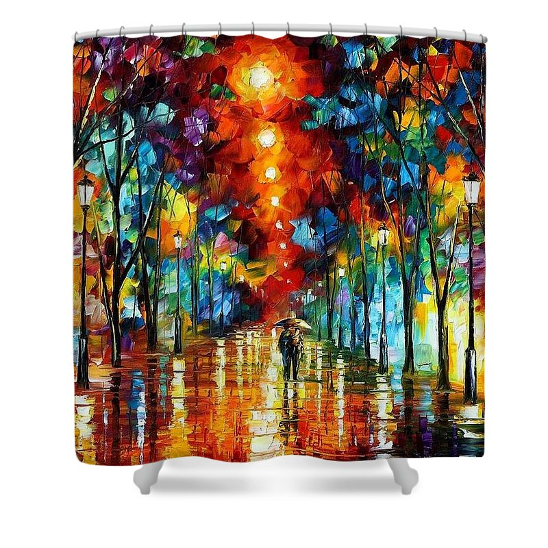 Afremov Shower Curtain featuring the painting Night Park by Leonid Afremov
