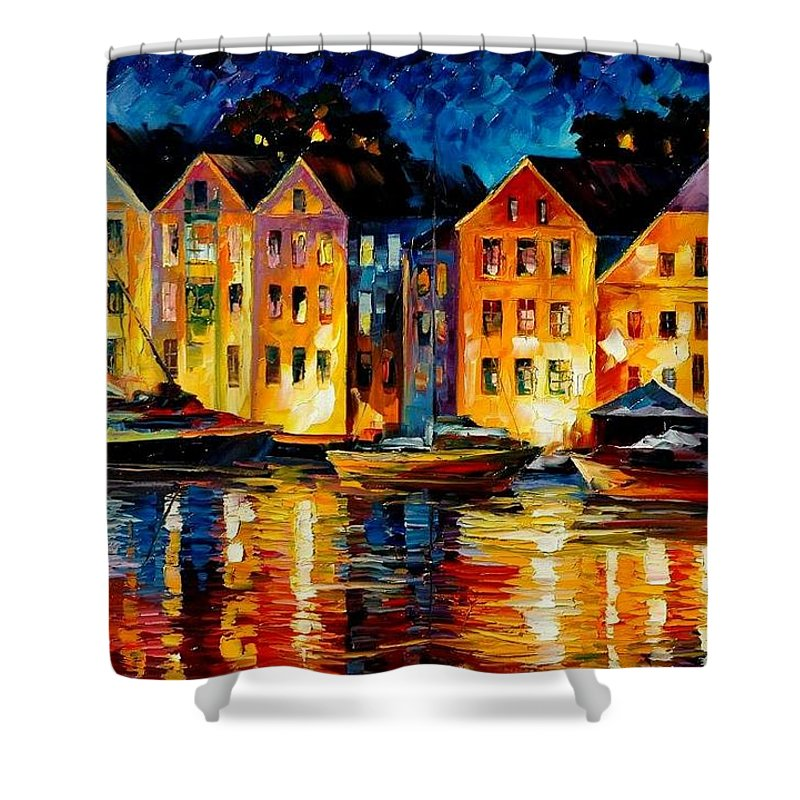 City Shower Curtain featuring the painting Night Resting Original Oil Painting by Leonid Afremov