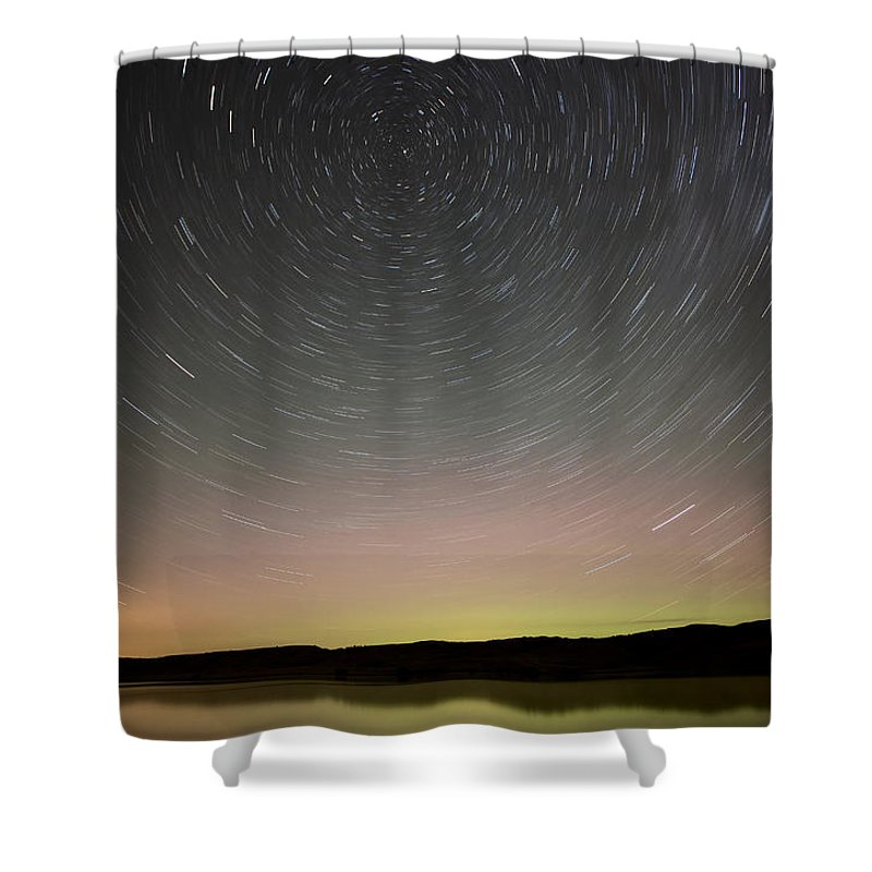 Night Shower Curtain featuring the photograph Night Shot Star Trails Lake by Mark Duffy