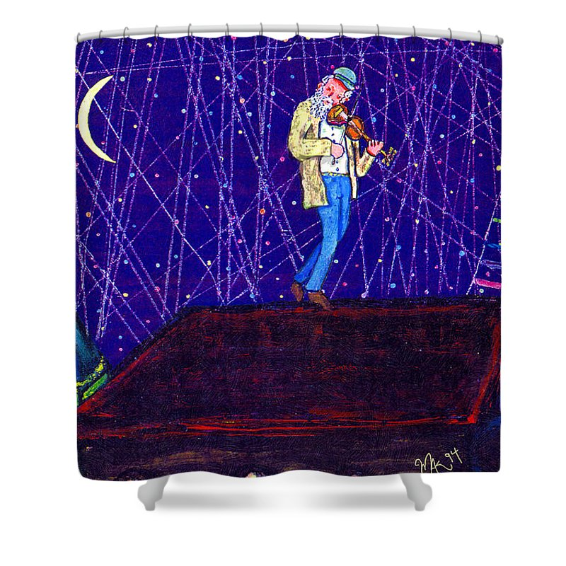 Jewish Shower Curtain featuring the painting Night Song by Michael A Klein