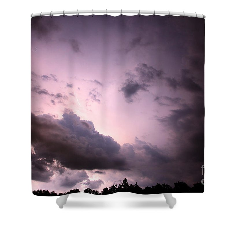Lightning Shower Curtain featuring the photograph Night Storm by Amanda Barcon
