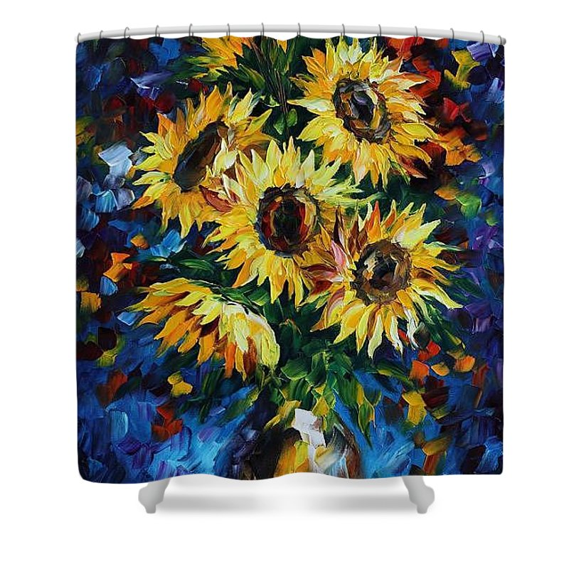 Afremov Shower Curtain featuring the painting Night Sunflowers by Leonid Afremov