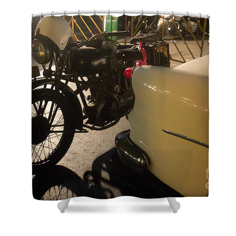 Motorcycle Shower Curtain featuring the photograph Night Time Silhouette Of Vintage Motorcycle Near Tail Of 50's St by Jason Rosette