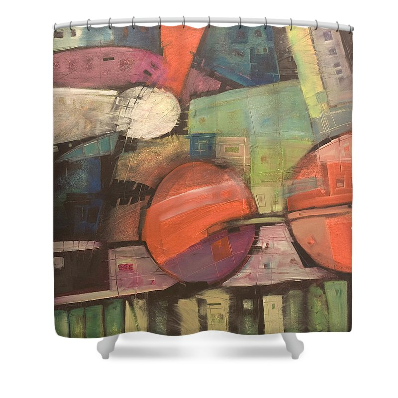 Train Shower Curtain featuring the painting Night Train by Tim Nyberg