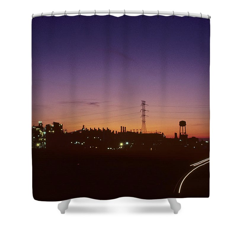 Industry Shower Curtain featuring the photograph Night View Of An Industrial Plant by Kenneth Garrett