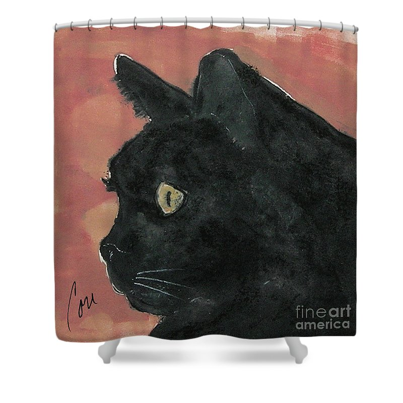 Cat Shower Curtain featuring the mixed media Night Vision by Cori Solomon