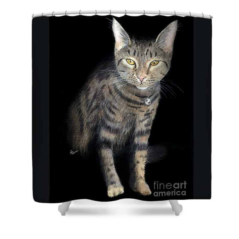 Cat Shower Curtain featuring the painting Night Vision by Lynn Quinn