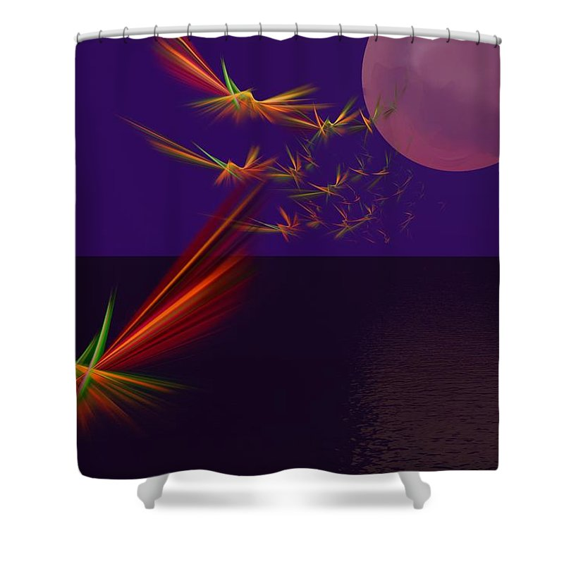 Abstract Digital Photo Shower Curtain featuring the digital art Night Wings by David Lane