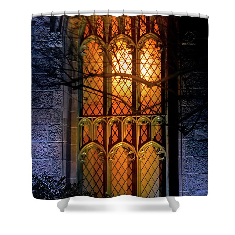 New York Shower Curtain featuring the photograph Night Worship by Mark Andrew Thomas