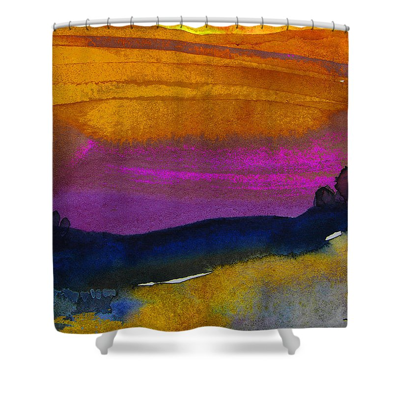 Watercolour Shower Curtain featuring the painting Nightfall 04 by Miki De Goodaboom