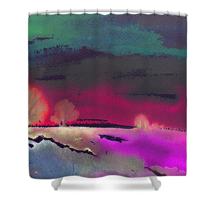 Watercolour Shower Curtain featuring the painting Nightfall 08 by Miki De Goodaboom