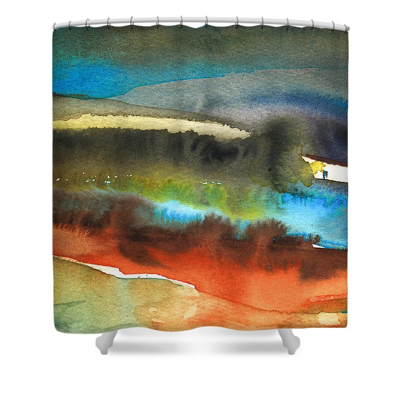 Watercolour Landscape Shower Curtain featuring the painting Nightfall 13 by Miki De Goodaboom