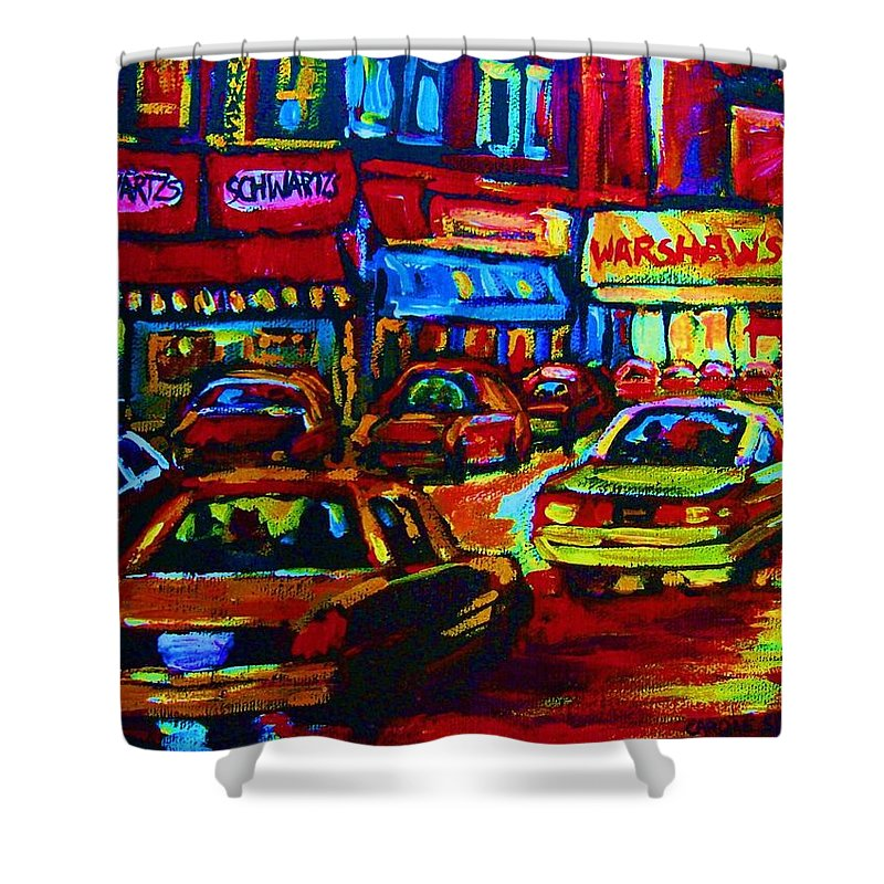 Schwartzs And Warshaws Shower Curtain featuring the painting Nightlights On Main Street by Carole Spandau