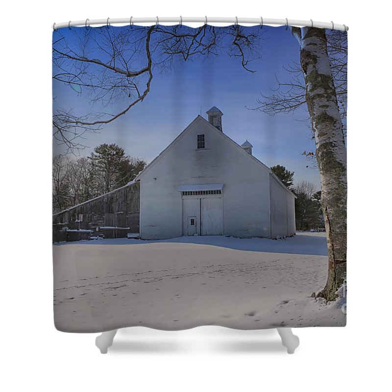 Barn Shower Curtain featuring the photograph Nighttime At The Mallett Barn by Elizabeth Dow