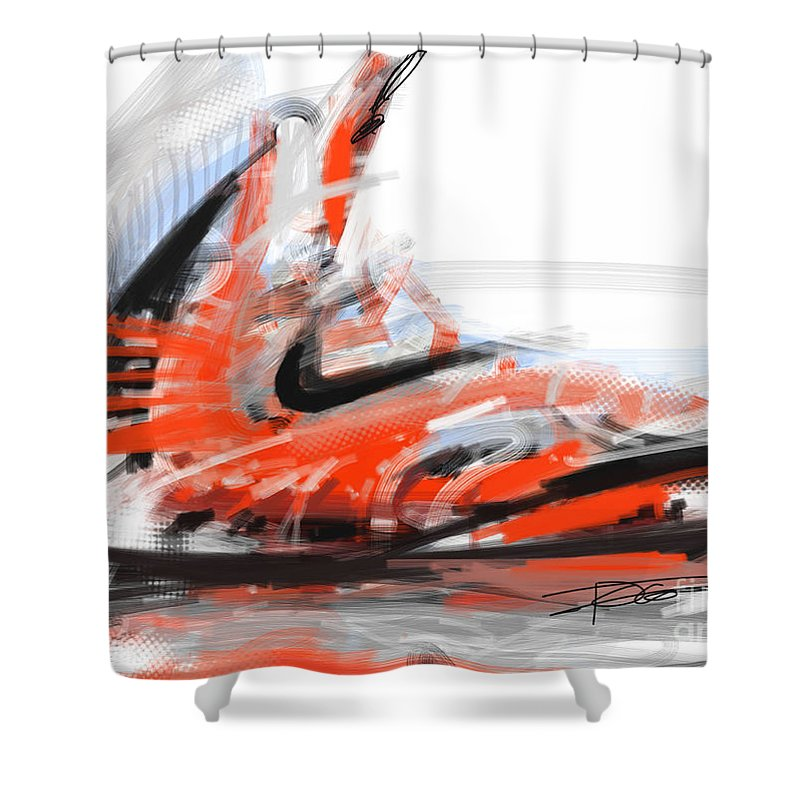 Nike Shower Curtain Featuring The Painting Basketball By Peter Fogg