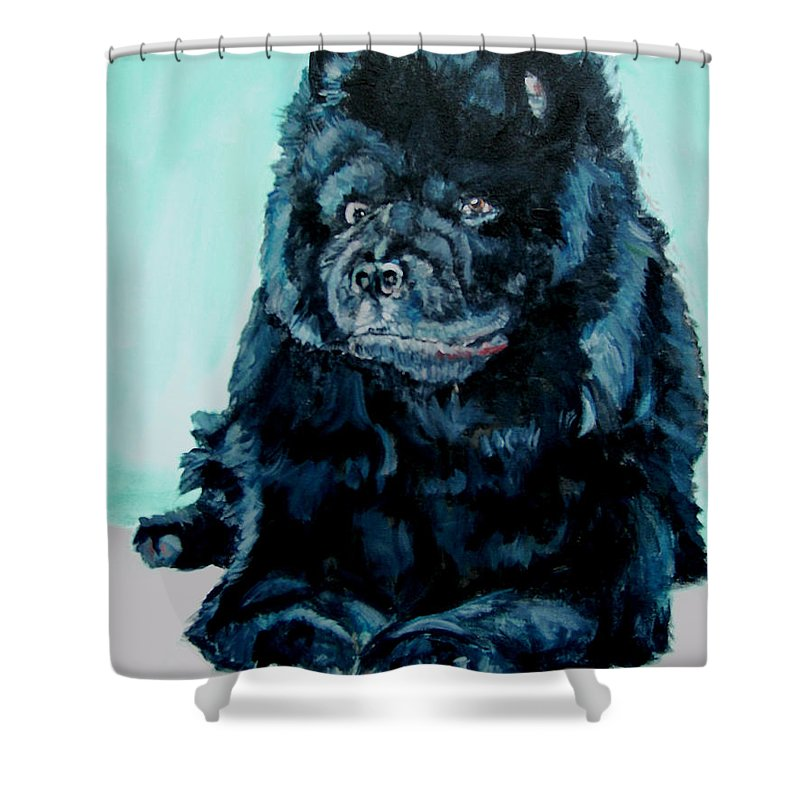 Dog Shower Curtain featuring the painting Nikki The Chow by Bryan Bustard