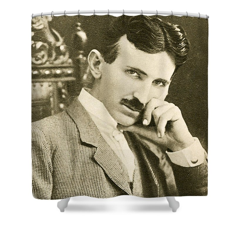 Science Shower Curtain featuring the photograph Nikola Tesla, Serbian-american Inventor by Photo Researchers
