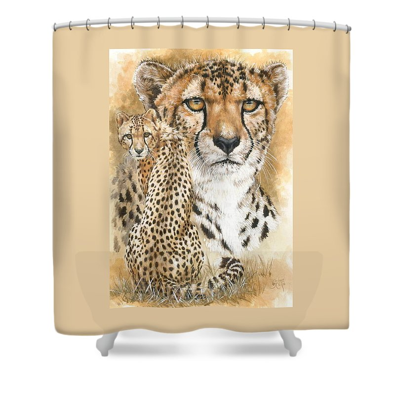 Cheetah Shower Curtain featuring the mixed media Nimble by Barbara Keith