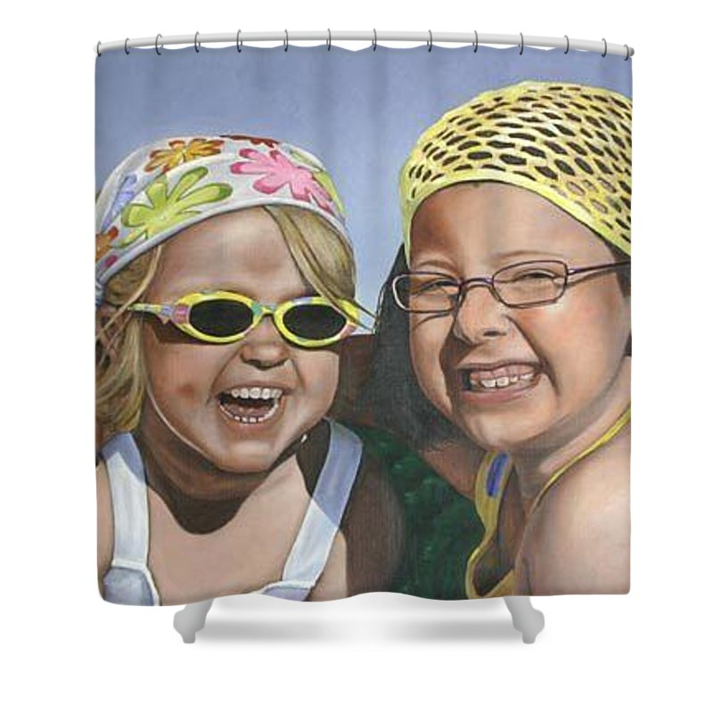 Portrait Shower Curtain featuring the painting Nina And Francis by Rob De Vries