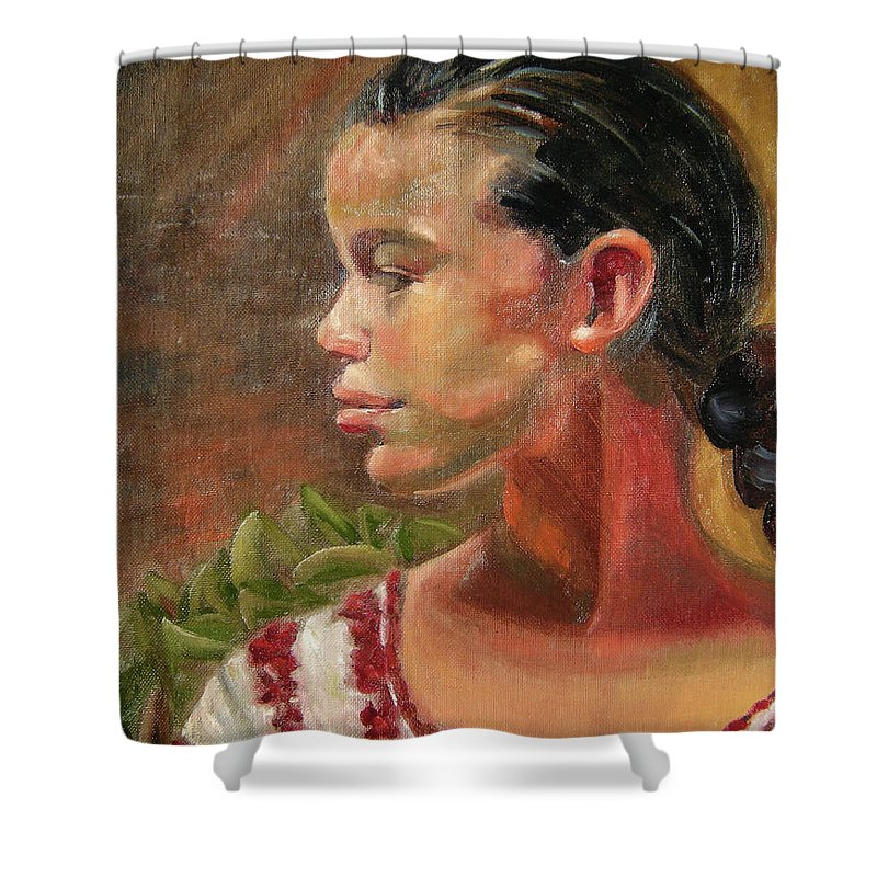 Mexico Shower Curtain featuring the painting Nina de Trenza by Lilibeth Andre