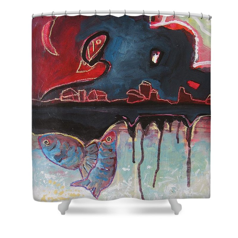 Abstract Paintings Shower Curtain featuring the painting Nipper by Seon-Jeong Kim
