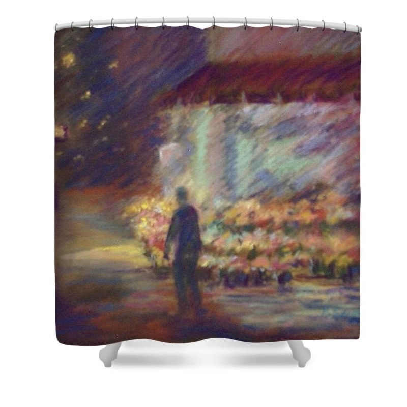 Laandscape Shower Curtain featuring the pastel Nite Flower Market by Pat Snook