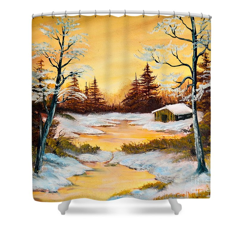 Winrwe Landscape Shower Curtain featuring the painting N.j Winter by Cvetko Ivanov