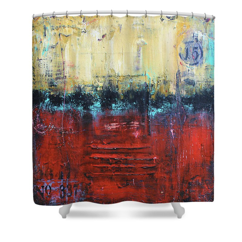 Urban Art Shower Curtain featuring the mixed media No. 337 by Patricia Lintner