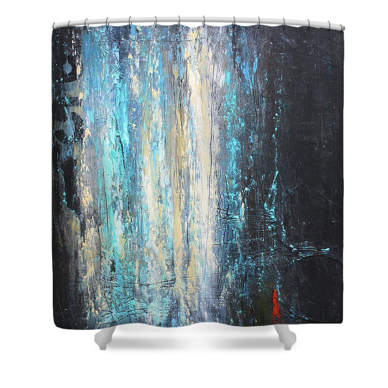 Urban Art Shower Curtain featuring the mixed media No. 851 by Patricia Lintner