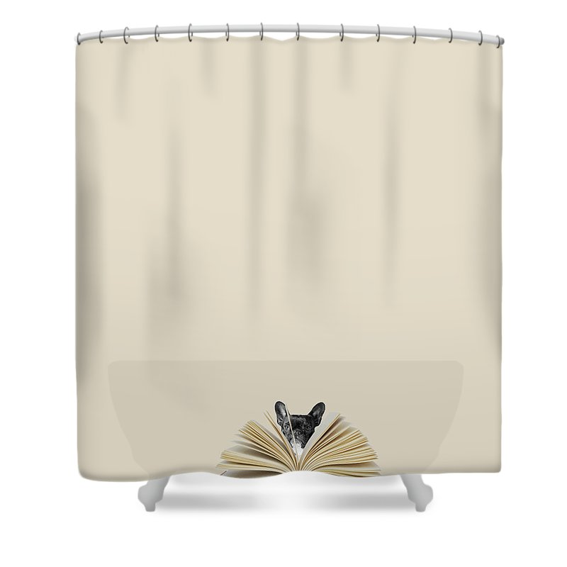 Minimal Shower Curtain featuring the photograph No Book No Party by Caterina Theoharidou