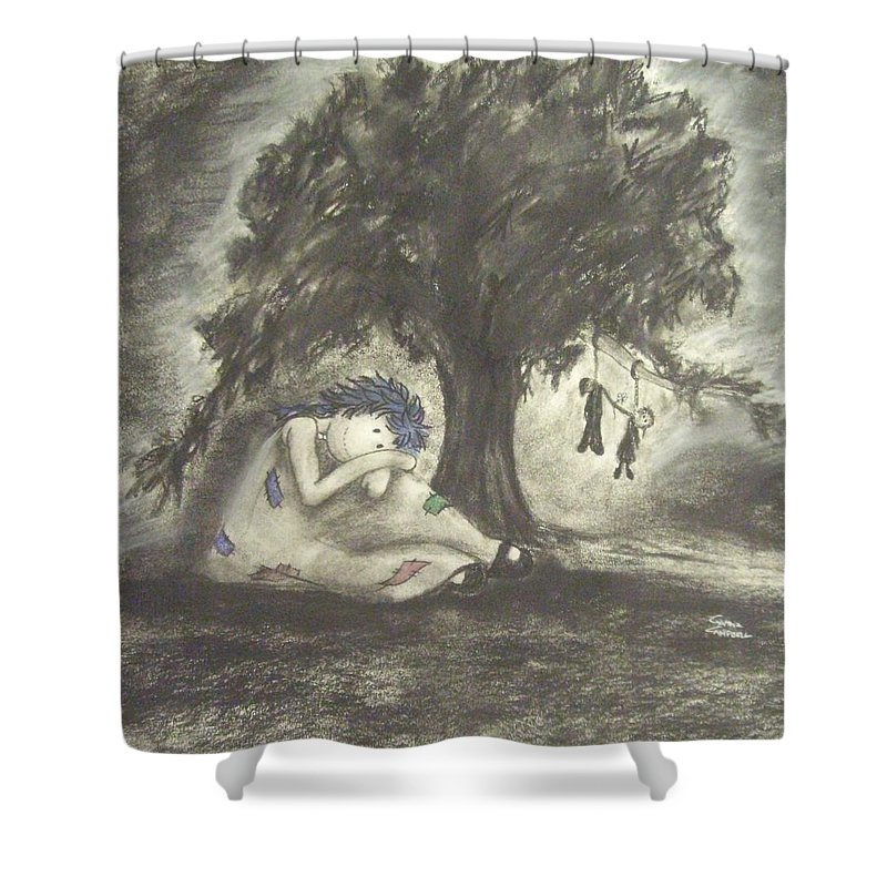 Original Art Shower Curtain featuring the drawing No Death Do We Part by Cynthia Campbell