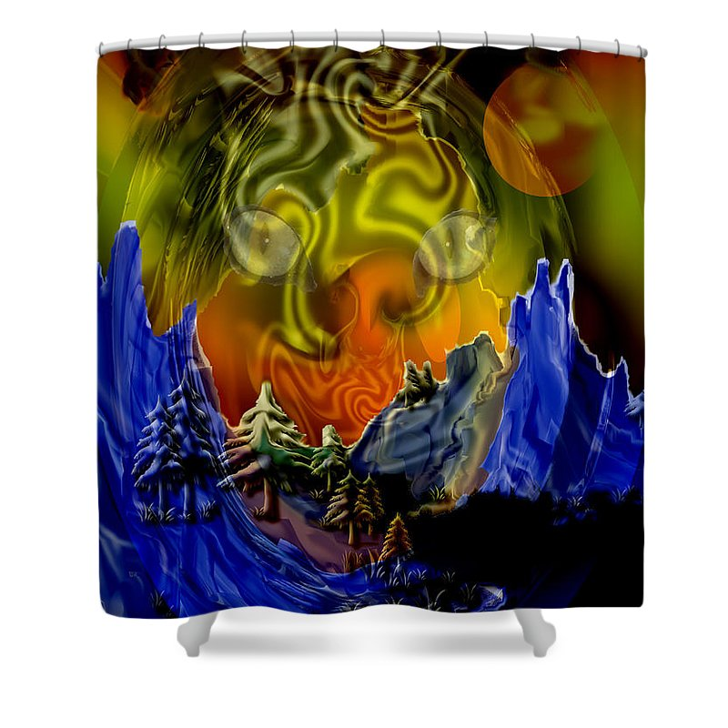 Mountains Cat Trees Abstract Tiger Moon Shower Curtain featuring the digital art No Intrusions by Andrea Lawrence