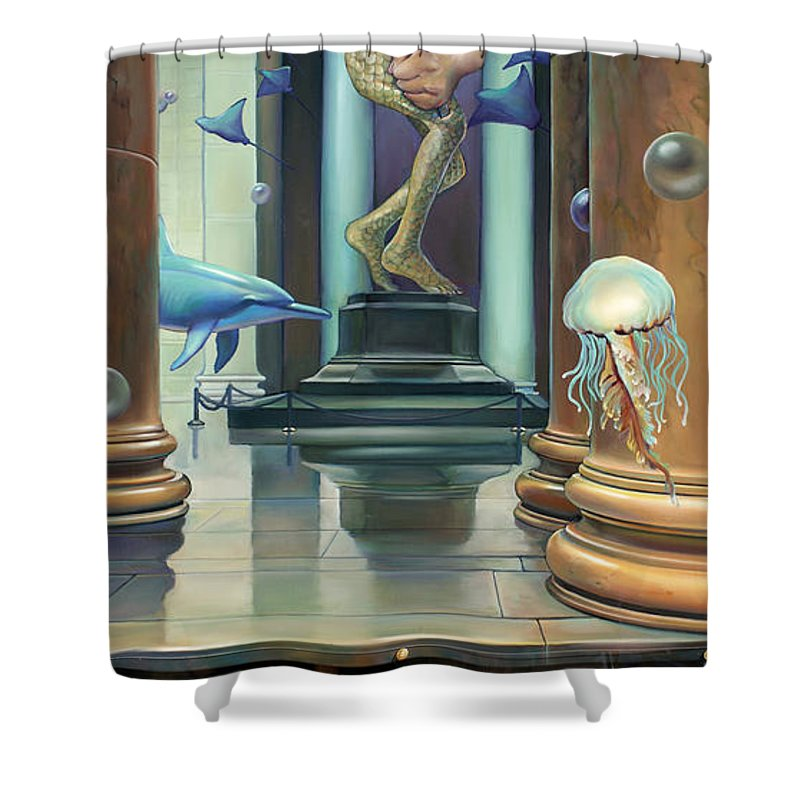 Merman Shower Curtain featuring the painting No Limits Redux by Patrick Anthony Pierson