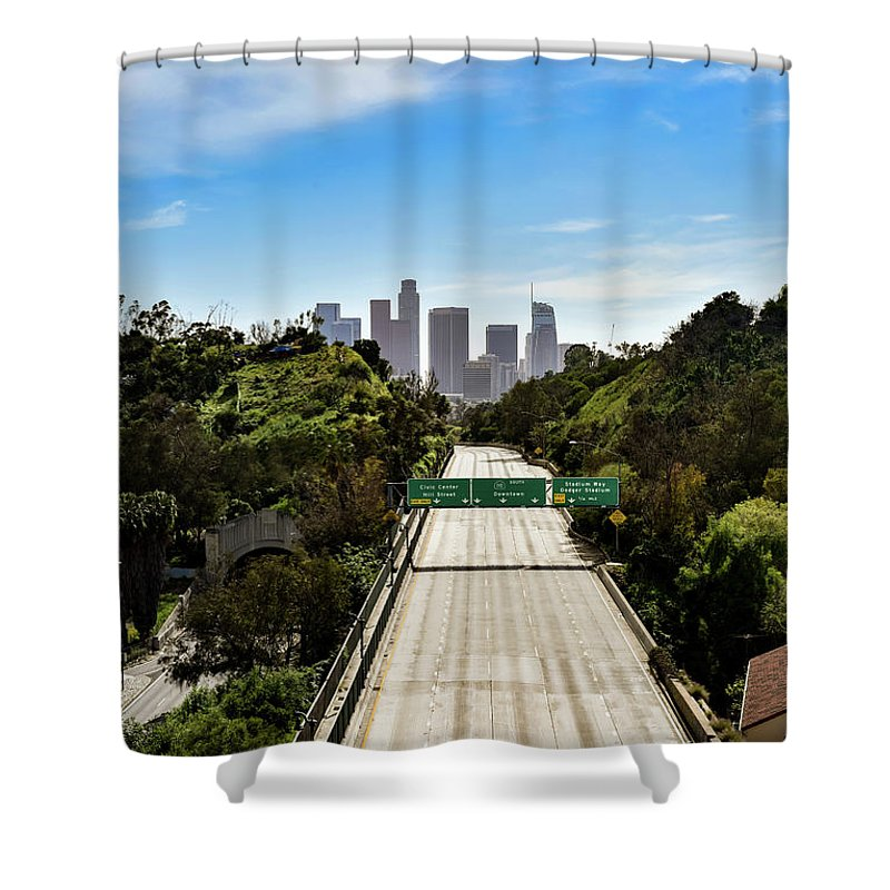 Dtla Shower Curtain featuring the photograph No More Cars In Los Angeles. by Canaan John