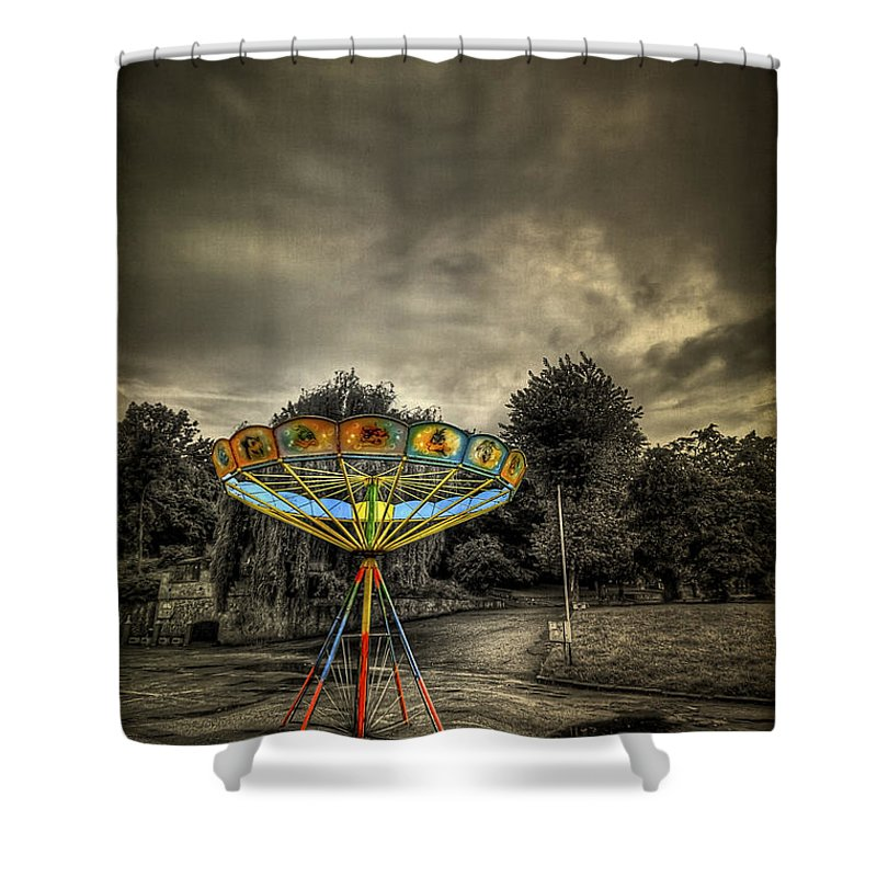 Carousel Shower Curtain featuring the photograph No More Rides by Evelina Kremsdorf