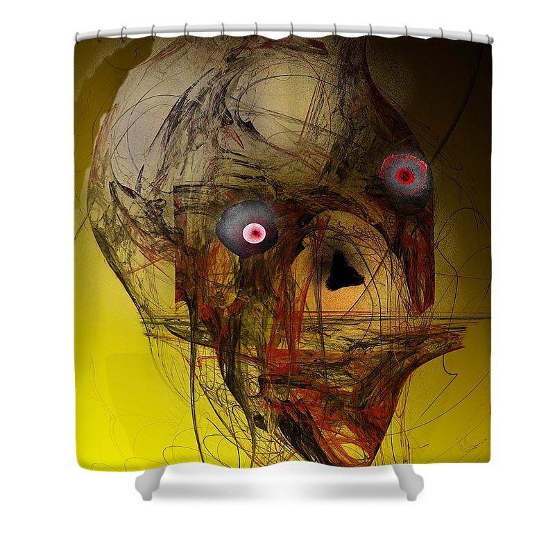 Skull Shower Curtain featuring the digital art No Mouth by David Lane